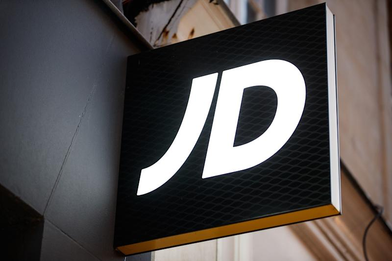This picture taken on November 29, 2019, shows the logo JD sports on the front facade of a shop in the city of Caen, northwestern of France. (Photo by Sameer Al-DOUMY / AFP) (Photo by SAMEER AL-DOUMY/AFP via Getty Images)