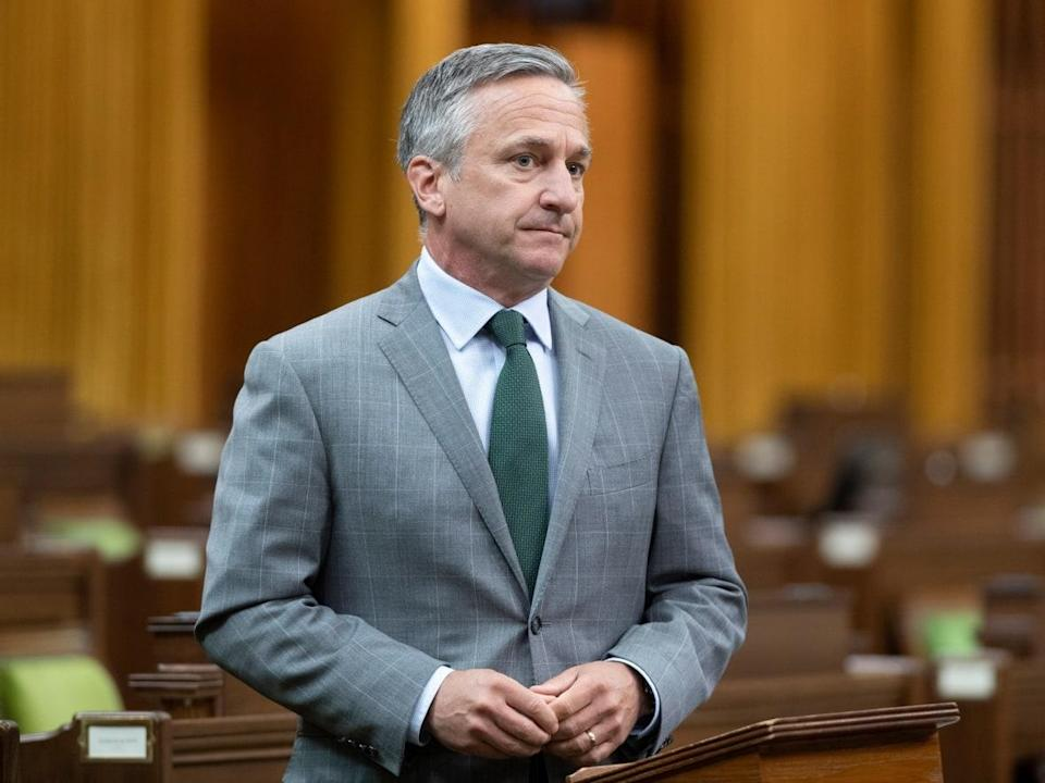 Then-Conservative MP James Cumming rises in the House of Commons on June 1, 2021 in Ottawa.  (The Canadian Press/Adrian Wyld - image credit)