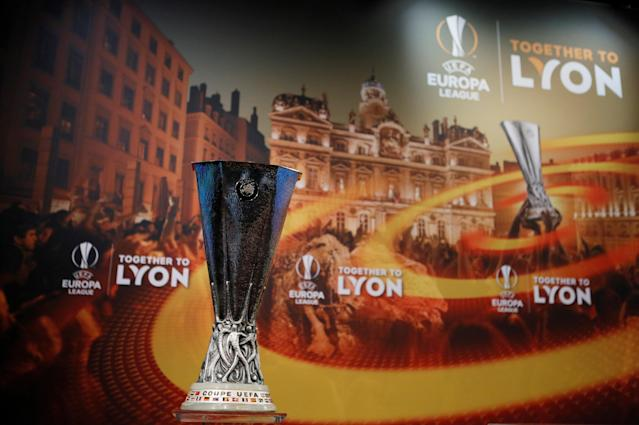 Soccer Football - Europa League Quarter-Final Draw - Nyon, Switzerland - March 16, 2018 The Europa League trophy during the draw REUTERS/Pierre Albouy