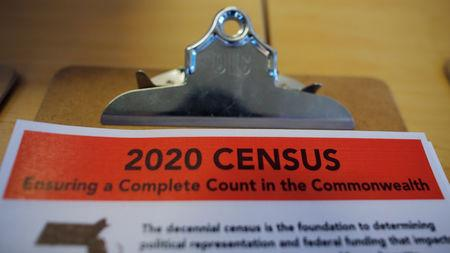 FILE PHOTO: An informational pamphlet is displayed at an event for community activists and local government leaders to mark the one-year-out launch of the 2020 Census efforts in Boston, Massachusetts, U.S., April 1, 2019. REUTERS/Brian Snyder/File Photo
