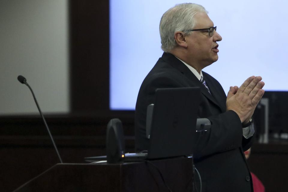 Assistant State Attorney Ronald Gale speaks during closing arguments against Ronnie Oneal III at the George E. Edgecomb Courthouse in Tampa, Fla., on Monday, June 21, 2021. (Ivy Ceballo/Tampa Bay Times via AP)