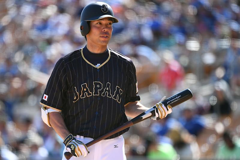 GLENDALE, AZ - MARCH 19: Shogo Akiyama #55 of Japan is seen during the exhibition game between Japan and Los Angeles Dodgers at Camelback Ranch on March 19, 2017 in Glendale, Arizona. (Photo by Masterpress/Getty Images)