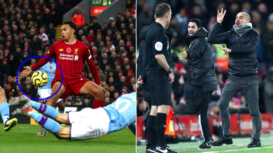 The ball hits Trent Alexander-Arnold arm and Pep Guardiola reacts to a decision.