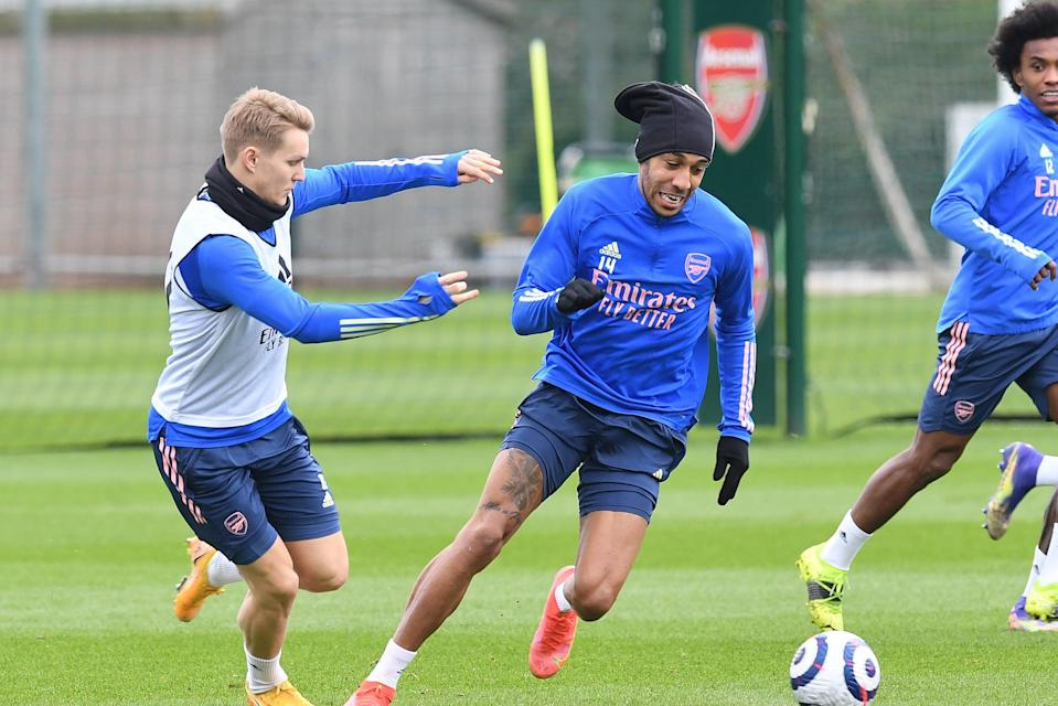 <p>Odegaard and Aubameyang will not be involved in Prague</p> (Arsenal FC via Getty Images)
