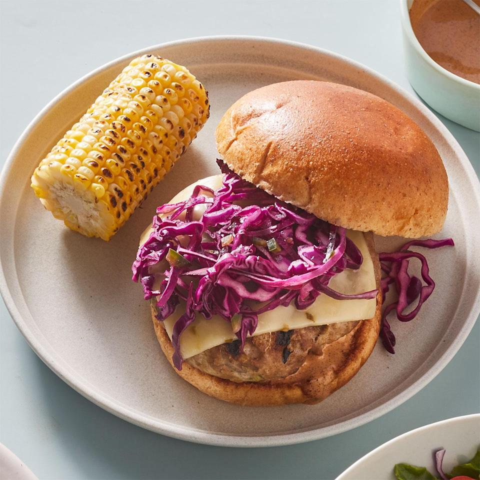 <p>Shredded zucchini keeps these lean turkey burgers moist and sneaks extra vegetables into your meal.</p>