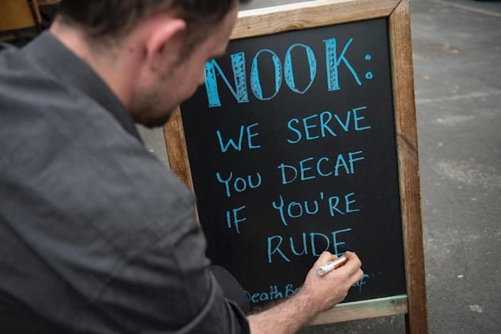 The messages sometimes use humour rather than straightforward positive PR (AFP Photo/Oli Scarff)