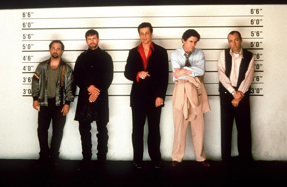 """<a href=""""http://movies.yahoo.com/movie/the-usual-suspects/"""" data-ylk=""""slk:THE USUAL SUSPECTS"""" class=""""link rapid-noclick-resp"""">THE USUAL SUSPECTS</a> (1995) <br>Directed by: <span>Bryan Singer</span> <br>Starring: <span>Kevin Spacey</span> and <span>Gabriel Byrne</span>"""
