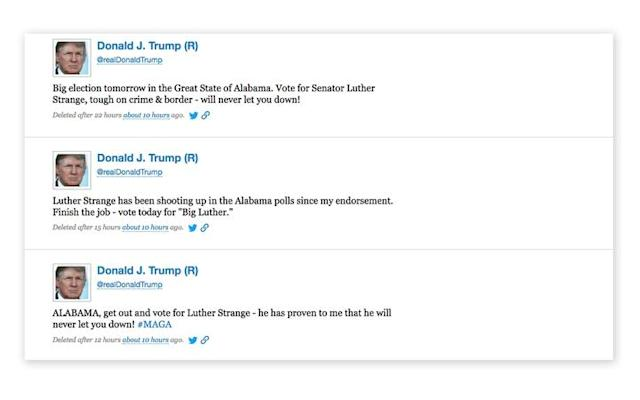 Screengrab of deleted tweets from Donald Trump. (Via ProPublica, https://www.propublica.org/)