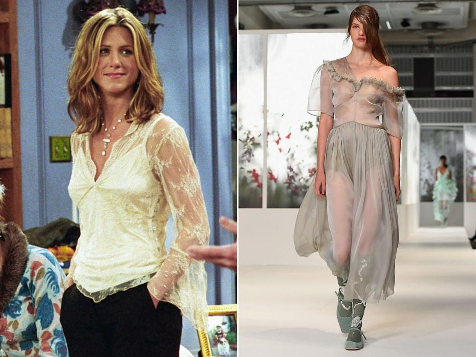 <p><strong>The moment:</strong> Season 8, episode 9</p><p>Probably Rachel's best Thanksgiving ensemble came in the form of this sheer, lace blouse and camisole that she wore in season eight. The sheer trend is one that never really goes away, coming back in various guises season after season. </p>