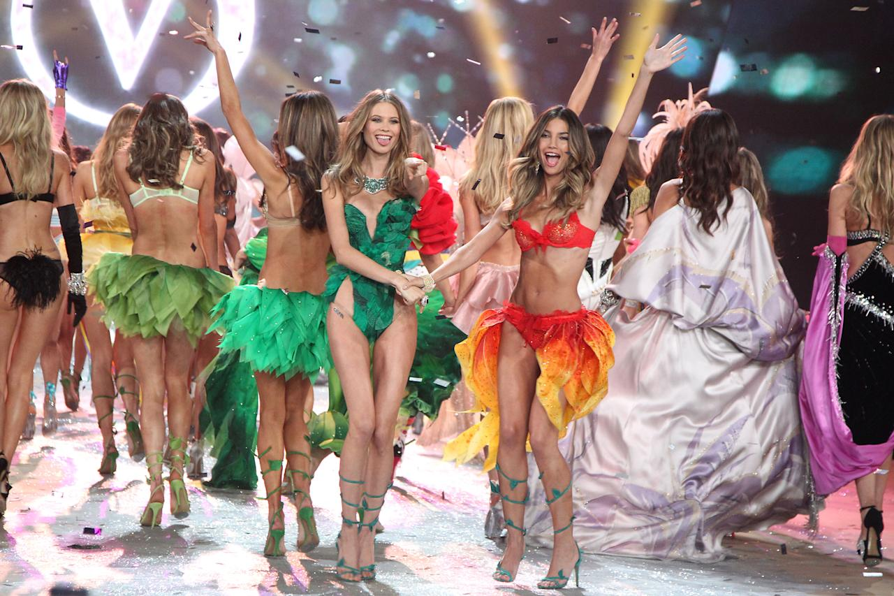 This Nov. 7, 2012 photo released by Starpix shows models Behati Prinsloo, left, and Lily Aldridge during The 2012 Victoria's Secret Fashion Show in New York. The California native has been a Victoria's Secret model since 2009, and she also has walked the runway for Rag & Bone and Giles Deacon and appeared in ads for Coach, Clinque and Anthropologie. (AP Photo/Starpix, Amanda Schwab)