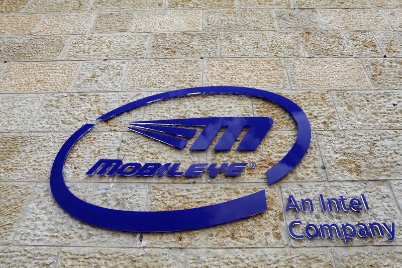 The logo of Israeli technology firm Mobileye is seen on the building hosting their headquarters in Jerusalem