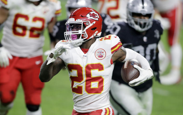 Kansas City Chiefs Le'Veon Bell carries the ball during an NFL football game against the Las Vegas Raiders, Sunday, Nov. 22, 2020, in Las Vegas. (AP Photo/Isaac Brekken)