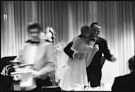 <p>Farrow and Sinatra on the dance floor of the Sands Hotel. The crooner frequented Las Vegas, as he often performed there. </p>