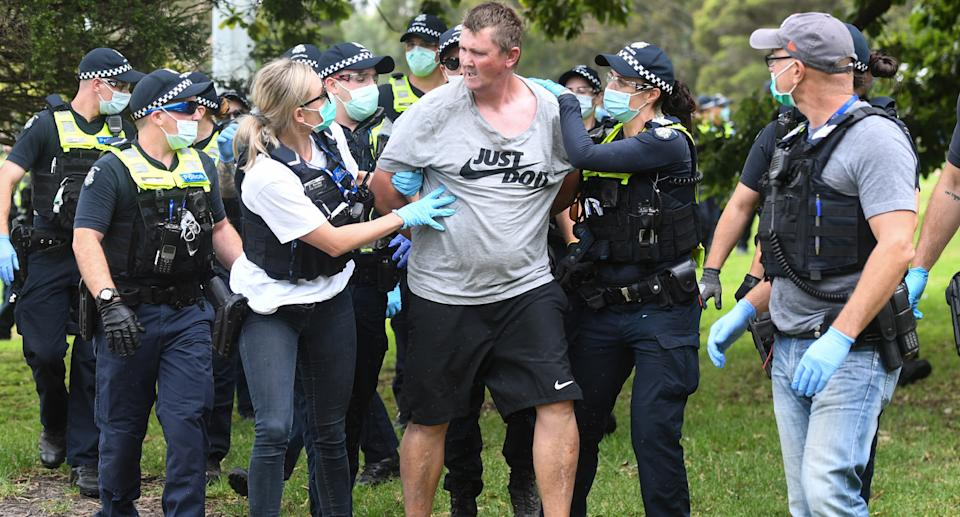 Several arrests were made at the Melbourne march at Fawkner Park. Source: AAP