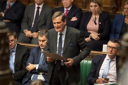 Conservative MP Dominic Grieve speaks during Prime Minister's Questions session in the House of Commons in London