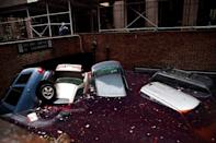 Cars float in a flooded subterranean basement after the massive storm Sandy flooded the Financial District in New York. (Andrew Burton/Getty Images)
