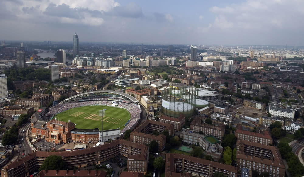 An ariel view of England playing Australia during day five of the Fifth Investec Ashes Test match at The Kia Oval, London.