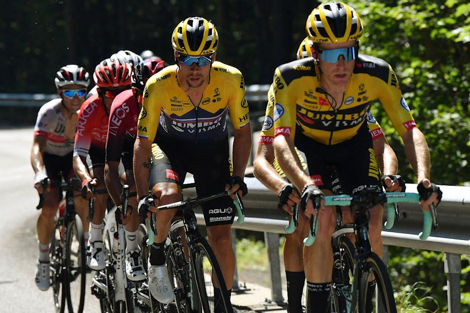 SAINTVULBAS FRANCE  AUGUST 08 Steven Kruijswijk of The Netherlands and Team Jumbo  Visma  Primoz Roglic of Slovenia and Team Jumbo  Visma  Breakaway  during the 32nd Tour de LAin 2020 Stage 2 a 141km stage from Lagnieu to Llex MontsJura 896m  tourdelain  TOURDELAIN  TDA  on August 08 2020 in SaintVulbas France Photo by Justin SetterfieldGetty Images