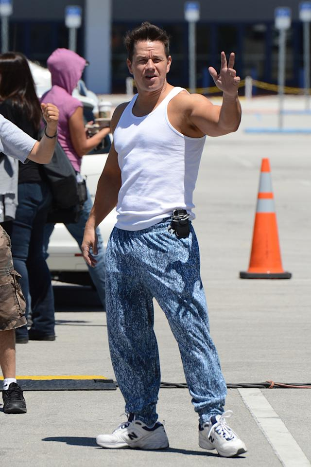 "Mark Wahlberg is sighted on the movie set of ""Pain and Gain"" on April 24, 2012 in Miami, Florida."