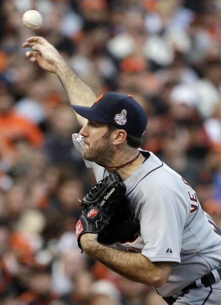Detroit Tigers starting pitcher Justin Verlander throws during the first inning of Game 1 of baseball's World Series against the San Francisco Giants Wednesday, Oct. 24, 2012, in San Francisco. (AP Photo/David J. Phillip)