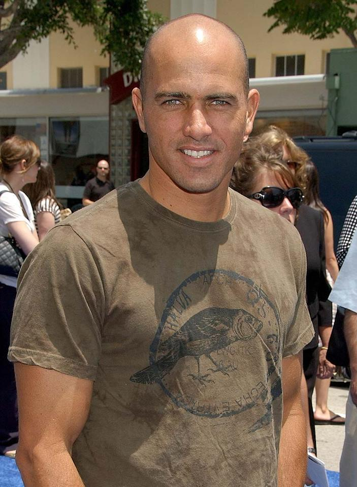 """Having a slick head has to help pro surfer Kelly Slater ride the waves. Gregg DeGuire/<a href=""""http://www.wireimage.com"""" target=""""new"""">WireImage.com</a> - June 2, 2007"""