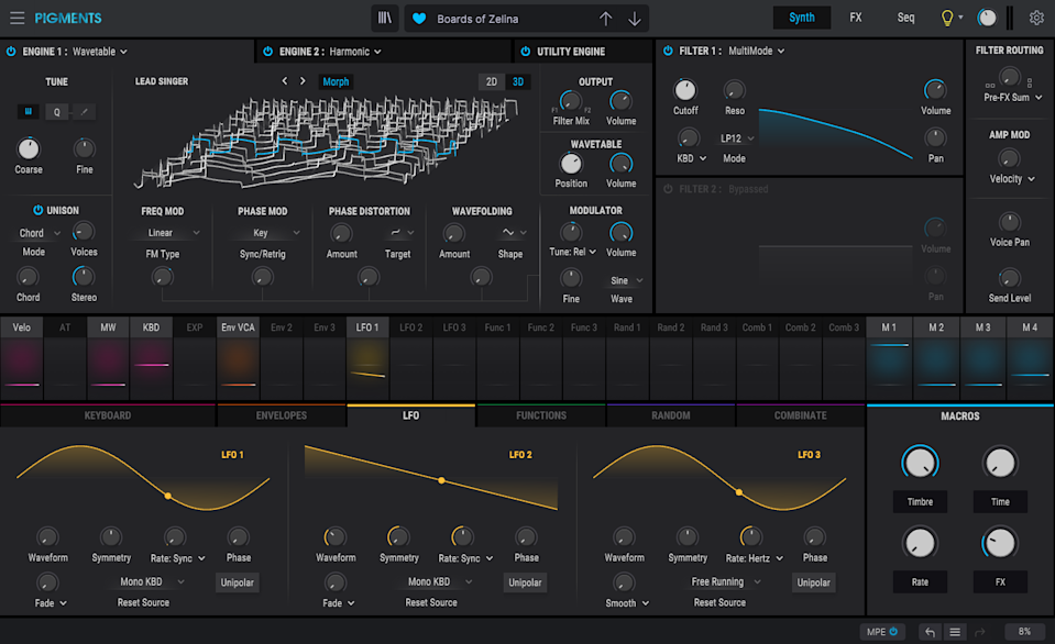 Arturia Pigments 3 synth view