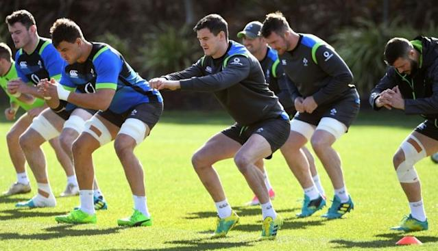 Ireland's rugby union player Johnny Sexton (C) and tammates stretch during a training session in Melbourne, on June 14, 2018, ahead of their second Test match against Australia