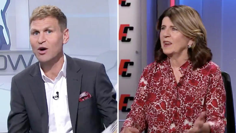 AFL great Kane Cornes (pictured left) speaking and criticising his Footy Classified colleague Caroline Wilson (pictured right).