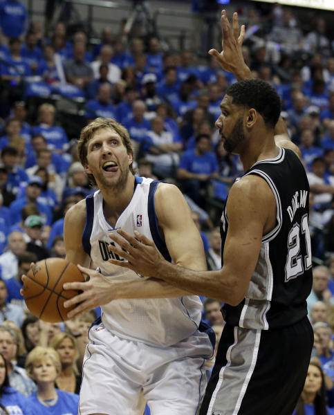 Dallas Mavericks' Dirk Nowitzki (41), of Germany, looks for a shooting opportunity against San Antonio Spurs' Tim Duncan (21) in the first half of Game 6 of an NBA basketball first-round playoff series on Friday, May 2, 2014, in Dallas. (AP Photo/Tony Gutierrez)