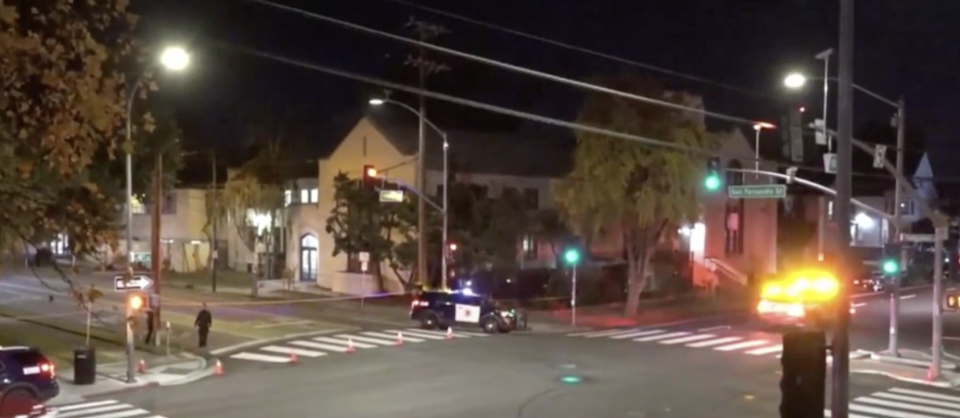 Intersection with police after stabbing inside a church.
