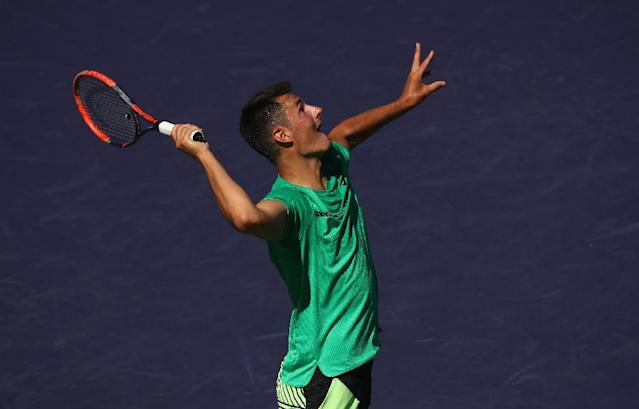 Bernard Tomic of Australia, pictured in action in March 2017, went down to Argentine Diego Schwartzman at the Monte Carlo Masters (AFP Photo/CLIVE BRUNSKILL)