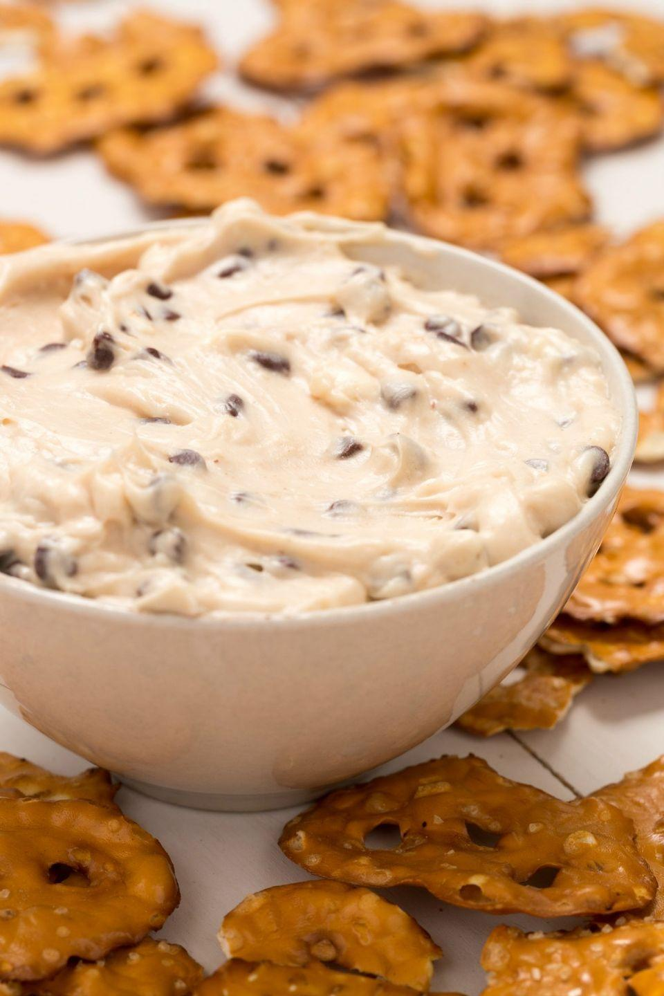 """<p>The dough is the real reason you bake cookies, anyway.</p><p>Get the recipe from <a href=""""https://www.delish.com/cooking/recipe-ideas/recipes/a43772/cookie-dough-dip-recipe/"""" rel=""""nofollow noopener"""" target=""""_blank"""" data-ylk=""""slk:Delish"""" class=""""link rapid-noclick-resp"""">Delish</a>.</p>"""