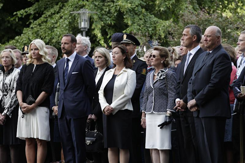 Norwegian Royal family members attend a memorial service at a venue near the site of a bombing which destroyed a government building, in Oslo, Norway, July 22, 2012. Norway holds a memorial service early Sunday to mark the first anniversary of the bombing in government buildings in Oslo, and shooting dead of youths at a Labor Party youth camp on Utoeya island. The attendees are from left.,Crown Princess Mette-Marit, Crown Prince Haakon, wife of Norwegian prime minister Jens Stoltenberg's wife, Ingrid Schulerud, Queen Sonja, Prime Minister Stoltenberg and King Harald. (AP Photo/NTB Scanpix, Tor Erik Schroeder) NORWAY OUT