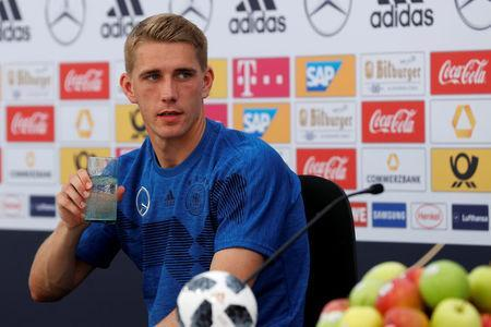 Soccer Football - FIFA World Cup - Germany Press Conference - Eppan, Italy - May 26, 2018 Germany's Nils Petersen during the press conference REUTERS/Leonhard Foeger