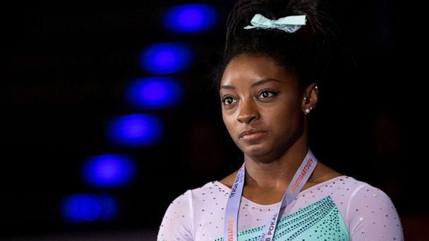 PHOTO: In this March 17, 2019, file photo, Simone Biles is shown at the 2019 FIG Artistic Gymnatics World Cup all-around awards ceremony, in Stuttgart, Germany. (Marijan Murat/Picture Alliance via Getty Images, FILE)