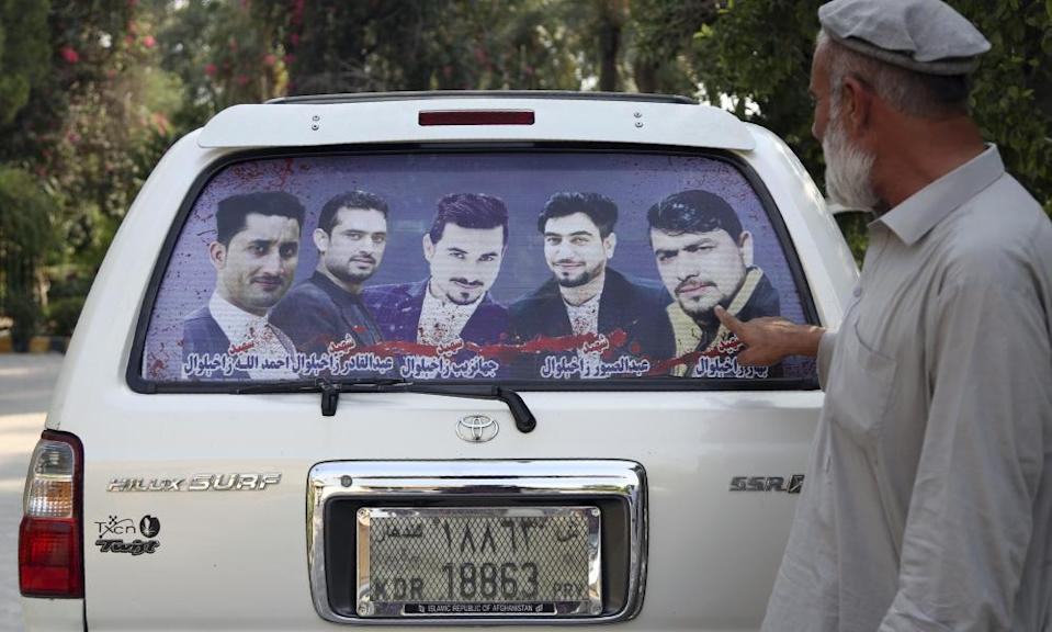 A picture that includes four brothers killed during a raid by CIA-trained Afghan soldiers in Jalalabad.