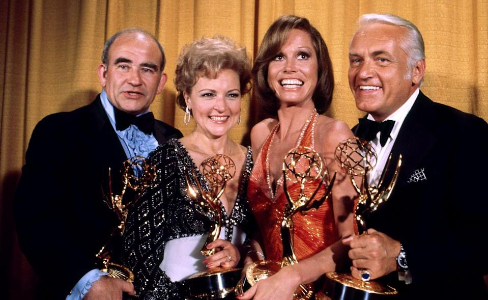 <p>In 1976, Betty won her second Emmy for Best Supporting Actress on <em>The Mary Tyler Moore Show</em>. The hit TV show scooped up a number of accolades at the 28th annual awards show. </p>
