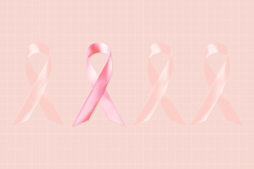 4 Breast cancer ribbons on a pink backgrounnd. One of the ribbons is in full color while the other 3 blend into the background