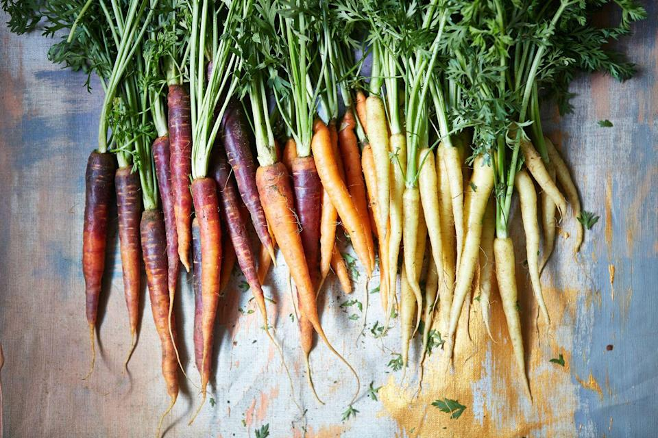"""<p>Carrots grow best in full sun and well-drained soil, with many being ready to harvest after 70 to 80 days. With <a href=""""https://www.dailymail.co.uk/health/article-5625593/Tucking-raw-carrots-ward-depression.html"""" rel=""""nofollow noopener"""" target=""""_blank"""" data-ylk=""""slk:previous research"""" class=""""link rapid-noclick-resp"""">previous research</a> discovering that tucking into raw carrots can help ward off depression, now is the perfect time to grow your own. </p><p><a class=""""link rapid-noclick-resp"""" href=""""https://www.waitrosegarden.com/plants/_/carrot-mixed/classid.2000023950/"""" rel=""""nofollow noopener"""" target=""""_blank"""" data-ylk=""""slk:BUY NOW VIA WAITROSE GARDEN"""">BUY NOW VIA WAITROSE GARDEN</a></p>"""