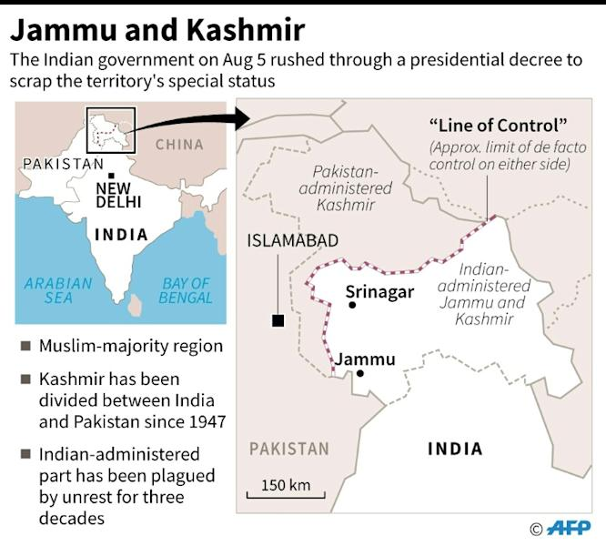Map of Indian-administered Jammu and Kashmir. The Indian government on Monday rushed through a presidential decree to scrap the territory's special status. (AFP Photo/)