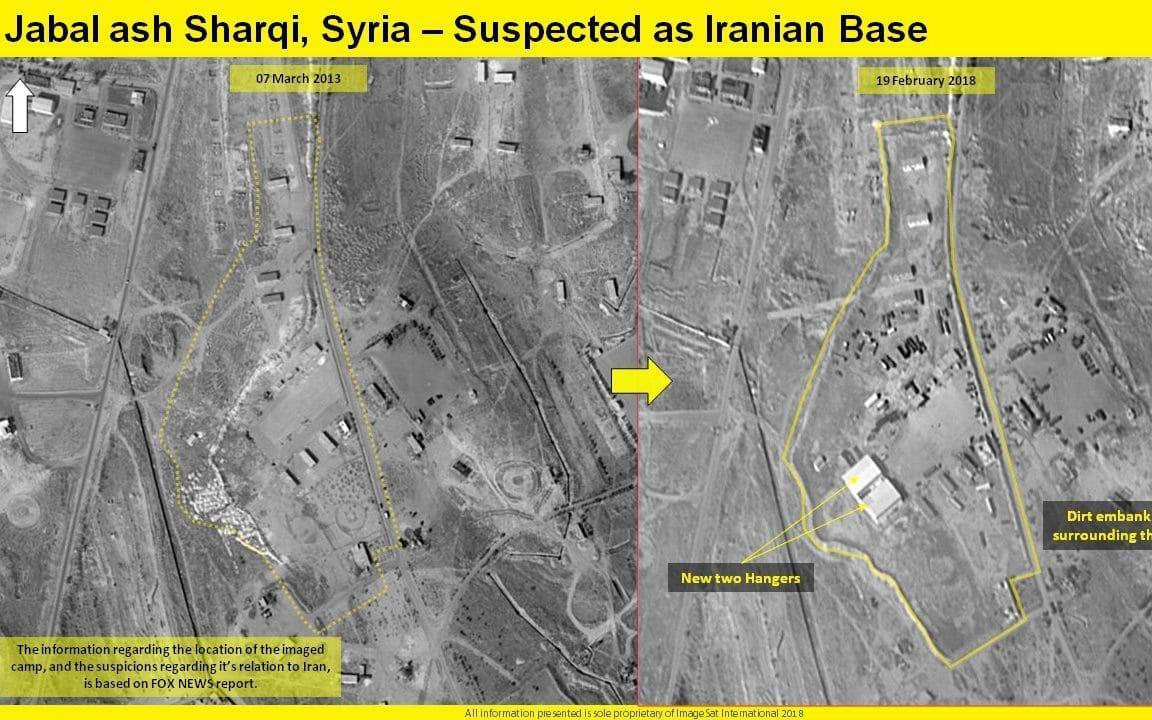 Satellite pictures show new hangars constructed at the base near Damascus - ImageSat International