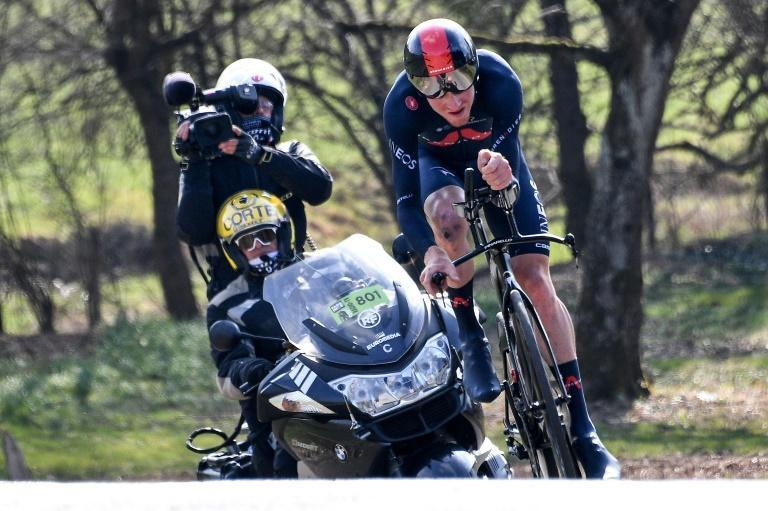 Tao Geoghegan Hart after his fall on stage four of Paris-Nice