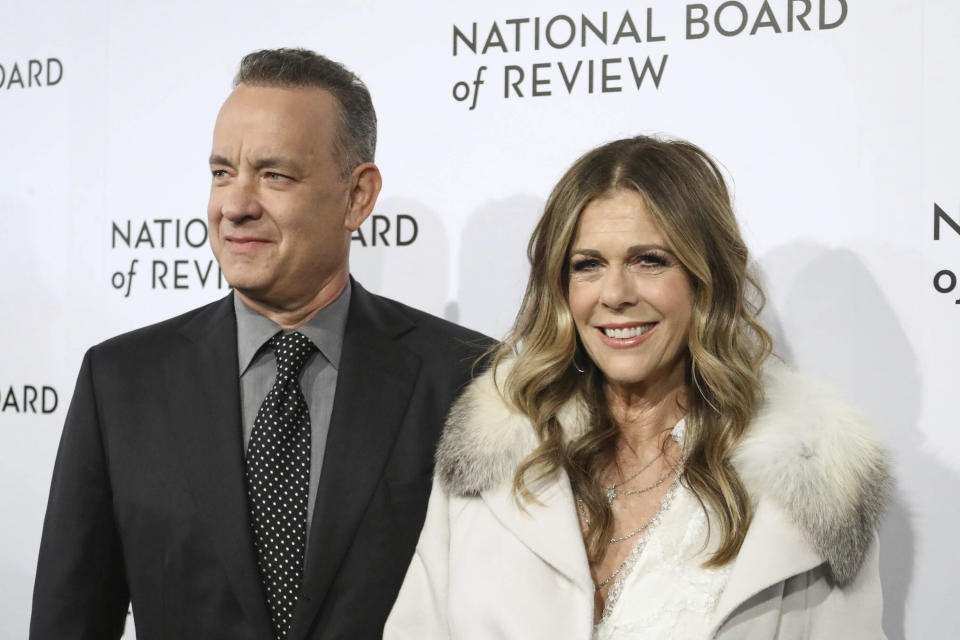 Photo by: John Nacion/STAR MAX/IPx 2020 3/11/20 Tom Hanks and Rita Wilson test positive for Coronavirus. STAR MAX File Photo: 1/9/18 Tom Hanks and Rita Wilson at The National Board of Review Annual Awards Gala (NBR) in New York City.