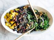 """<h2>12. Thanksgiving Salad with Wild Rice and Lemon Dressing</h2> <p>Delicious, colorful and medium-healthy.</p> <p><a class=""""link rapid-noclick-resp"""" href=""""http://pinchofyum.com/thanksgiving-salad-wild-rice-lemon-dressing"""" rel=""""nofollow noopener"""" target=""""_blank"""" data-ylk=""""slk:Get the recipe"""">Get the recipe</a></p>"""