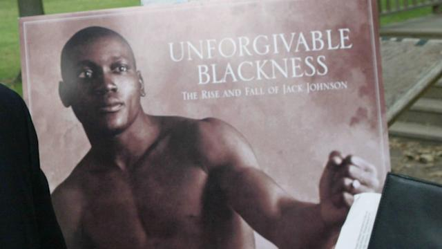 Johnson, the first black heavyweight champion, was convicted of transporting a white woman across state lines in 1913.
