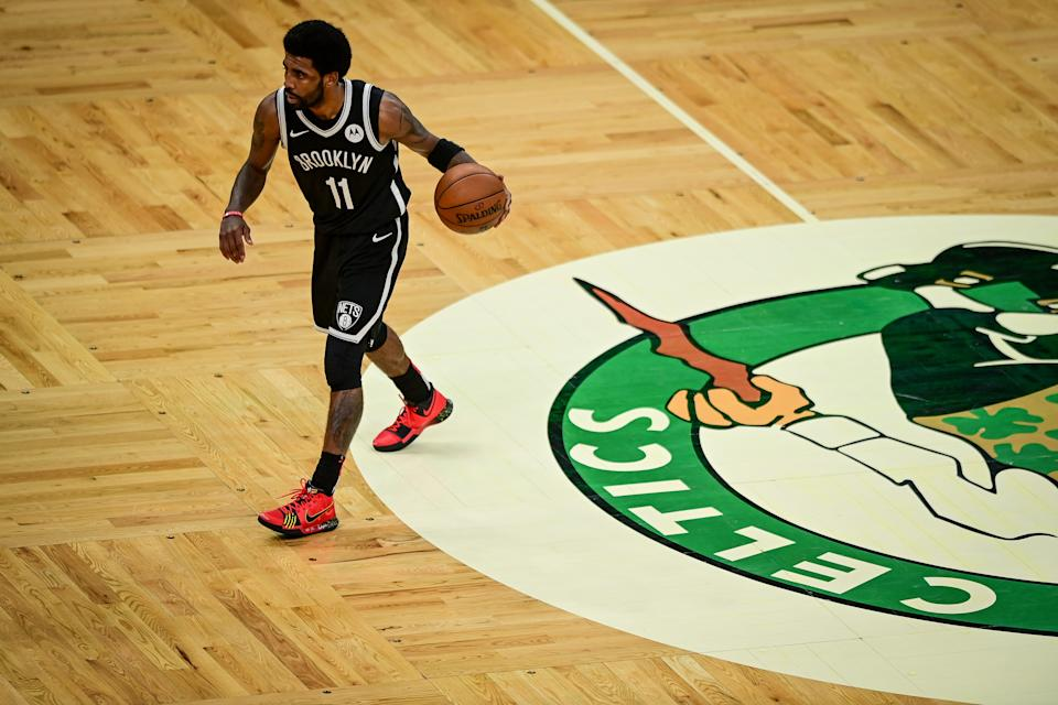 Nets star Kyrie Irving scored 39 points to send the Celtics to the brink of elimination. (Maddie Malhotra/Getty Images)
