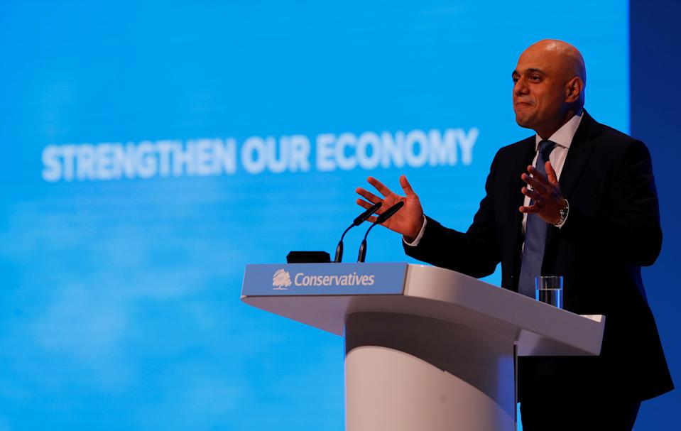 Britain's Chancellor of the Exchequer Sajid Javid gives a speech during the Conservative Party annual conference in Manchester, Britain, September 30, 2019. REUTERS/Phil Noble