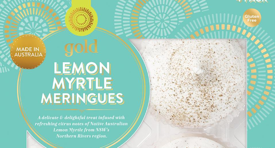 Woolworths lemon myrtle meringue pictured.