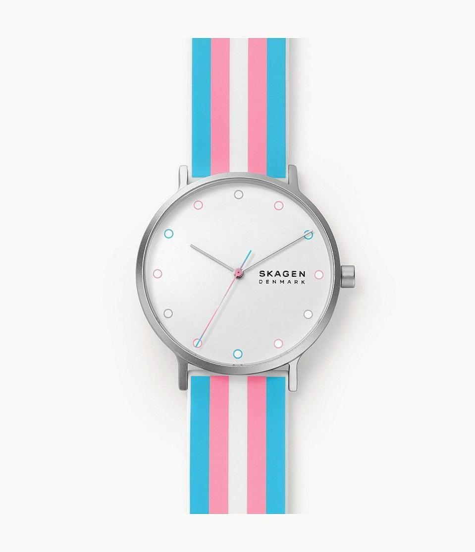 """<p><strong>Skagen</strong></p><p>skagen.com</p><p><strong>$125.00</strong></p><p><a href=""""https://go.redirectingat.com?id=74968X1596630&url=https%3A%2F%2Fwww.skagen.com%2Fen-us%2Fproducts%2Faaren-pride-three-hand-multi-colored-silicone-41mm-watch%2FSKW6660.html&sref=https%3A%2F%2Fwww.seventeen.com%2Flife%2Fg20195640%2Fgay-pride-clothing-lgtbq-friendly-companies%2F"""" rel=""""nofollow noopener"""" target=""""_blank"""" data-ylk=""""slk:Shop Now"""" class=""""link rapid-noclick-resp"""">Shop Now</a></p><p>A lil pride on the wrist never hurt nobody! Skagen has partnered with InterPride to release a two-style collection: one with the transgender flag and one with the <a href=""""https://go.redirectingat.com?id=74968X1596630&url=https%3A%2F%2Fwww.skagen.com%2Fen-us%2Fproducts%2Faaren-pride-three-hand-multi-colored-silicone-41mm-watch%2FSKW6659.html&sref=https%3A%2F%2Fwww.seventeen.com%2Flife%2Fg20195640%2Fgay-pride-clothing-lgtbq-friendly-companies%2F"""" rel=""""nofollow noopener"""" target=""""_blank"""" data-ylk=""""slk:classic rainbow"""" class=""""link rapid-noclick-resp"""">classic rainbow</a>. In addition to the collection, the brand has <strong>donated $25,000 to the cause</strong>. </p>"""