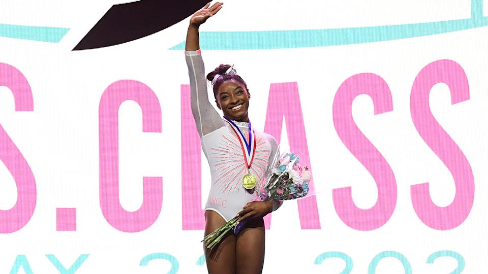 Simone Biles poses after being announced as the overall winner of the 2021 GK U.S. Classic gymnastics competition at the Indiana Convention Center on May 22, 2021 in Indianapolis, Indiana. Biles scored a total of 58.400 points. (Photo by Emilee Chinn/Getty Images)